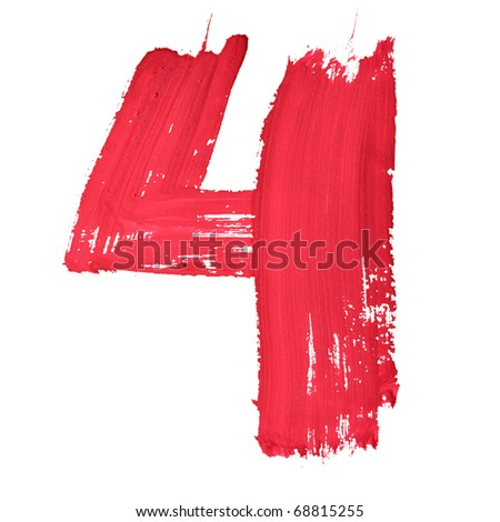 4 - Red handwritten digits over white background - stock photo