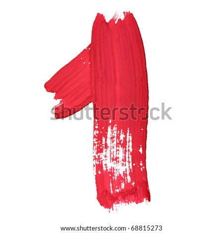 1 - Red handwritten digits over white background - stock photo