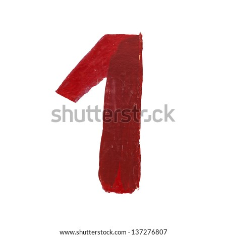 Red handwritten number one isolated - stock photo