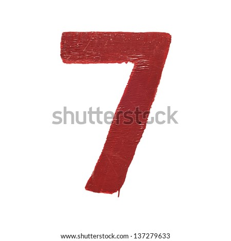 Red handwritten number seven isolated - stock photo