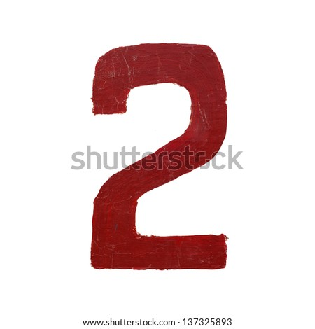 Red handwritten number two isolated - stock photo