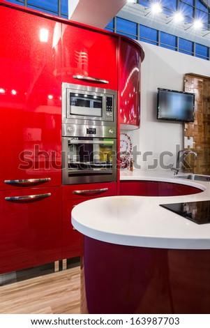red kitchen interior - stock photo