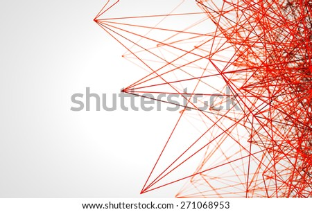 red low poly wire construction concept concepts connection - stock photo