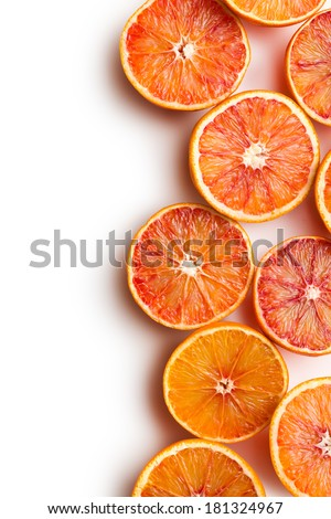 red oranges on white background - stock photo