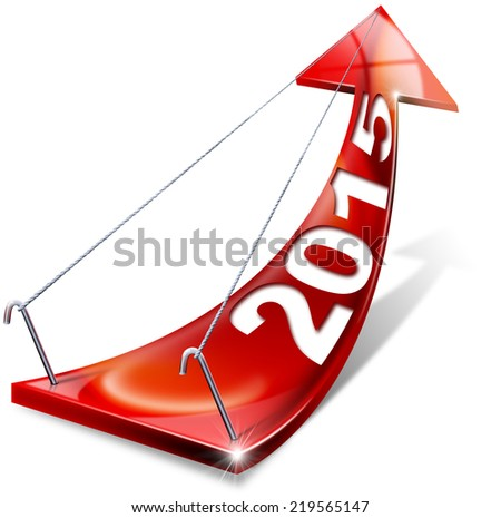 2015 Red Positive Arrow / Red arrow with year 2015 tending upwards, the concept of economic success - stock photo