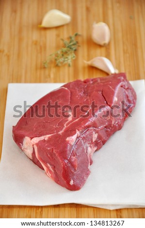 Red Raw Steak - stock photo