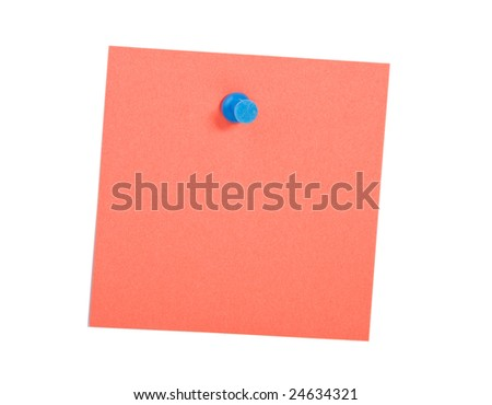 Red remainder note with blue pin on white background - stock photo