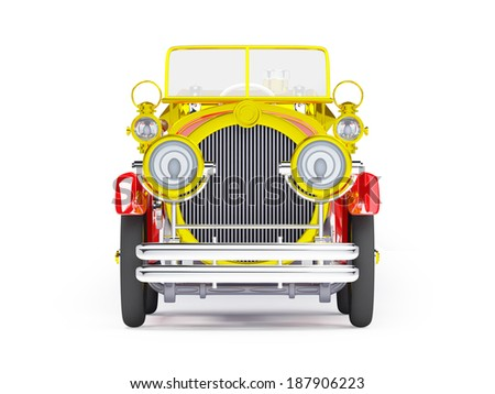1910 red retro car on a white background in steampunk style - stock photo