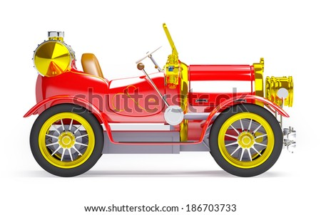 1910 red retro car on a white background in steampunk style side view - stock photo