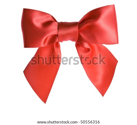 red ribbon bow isolated on white background - stock photo