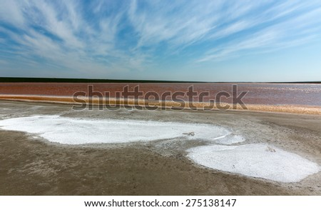red salt water lake in Kalmykia, Russia - stock photo