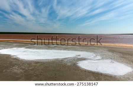 red salt water lake in Kalmykia, Russia - stock photo