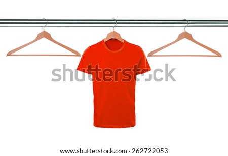 red t-shirts on hangers isolated on white background - stock photo