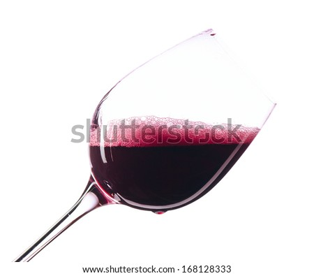 Red wine in wineglass on white background,saved clipping path - stock photo