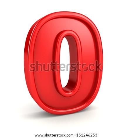 Red zero symbol, isolated on white background. - stock photo