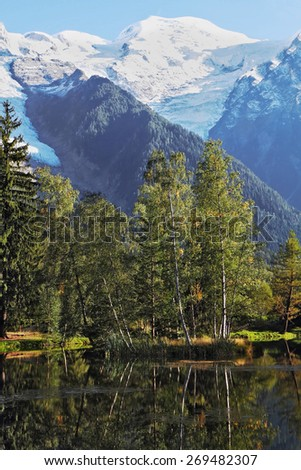 Reflections of snow-capped peaks and coastal trees in city park pond.  Chamonix - a famous ski resort in the French Alps - stock photo
