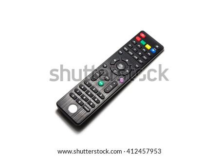 remote control on white background - stock photo