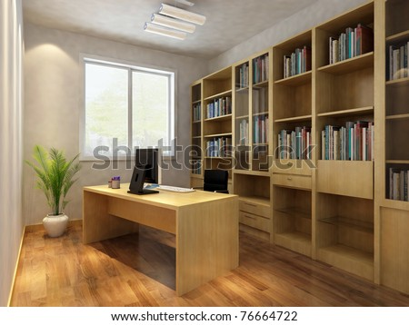 render interior of luxury classic study room - stock photo