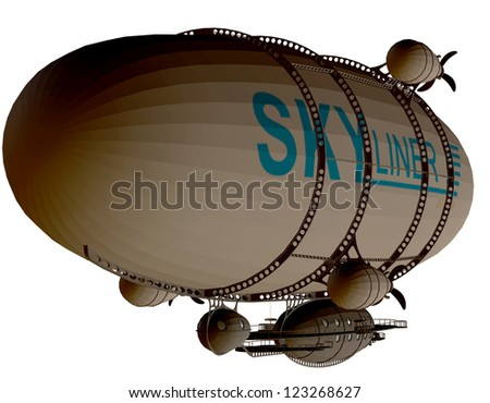 rendering of a Zeppelin as an illustration - stock photo