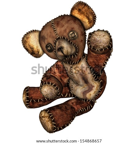rendering of an old teddy bear as illustration - stock photo