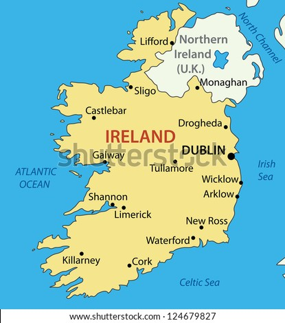 Republic of Ireland - map - stock photo