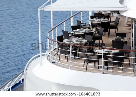 restaurant on ship with view on sea - stock photo