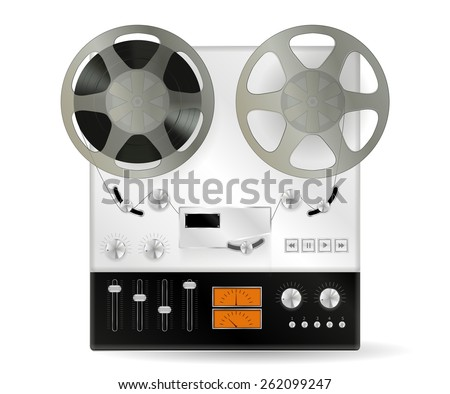 Retro audio tape recorder   isolated on white background. Raster version - stock photo