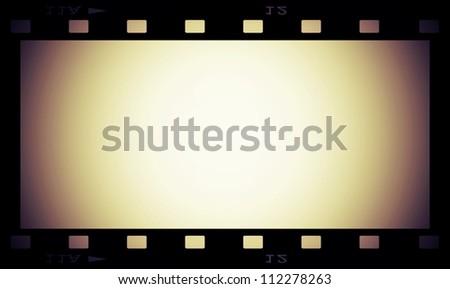 retro blank film strip frame isolated on white - stock photo