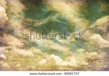 retro image of cloudy sky - stock photo