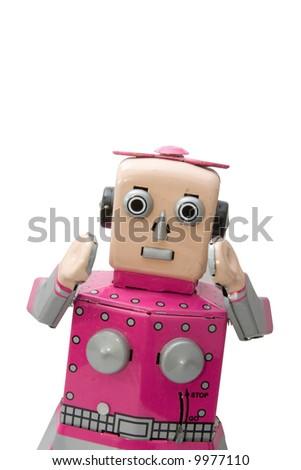 retro  robot  girl toy - stock photo
