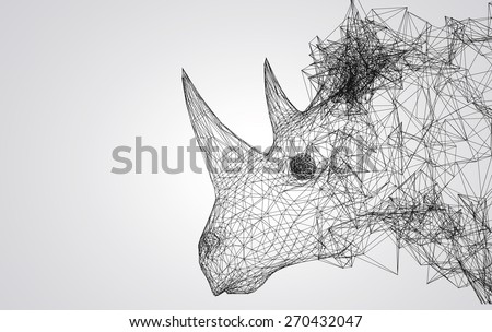 rhino stylized low poly wire construction concept concepts connection - stock photo
