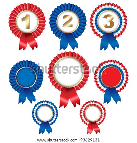 8 Ribbon Rosette Badge, Isolated On White Background - stock photo