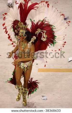 RIO DE JANEIRO - FEBRUARY 22: A sexy Samba dancer for the Rio Carnival in Sambadome February 22, 2009 in Rio de Janeiro, Brazil. The Rio Carnival is the biggest carnival in the world. - stock photo