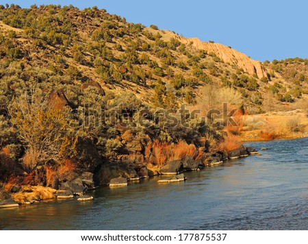 rio grande  in winter, near santa fe,  new mexico         - stock photo