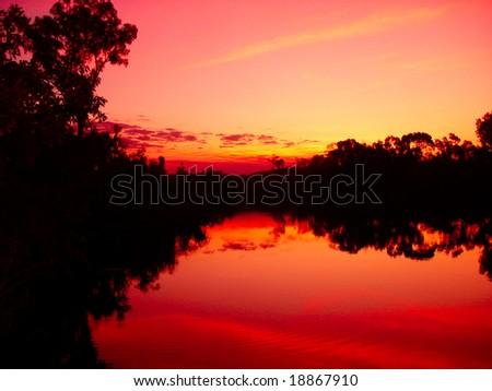 River orange sunset - stock photo