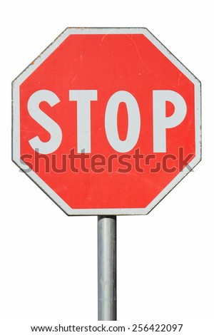 "road sign ""Stop"" on a white background - stock photo"