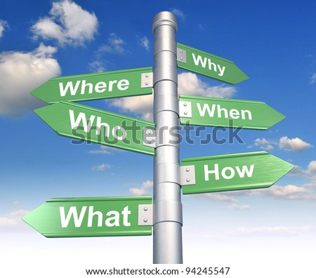 Road sign with various questions ( where, who, why, when, how, what ). 3d render - stock photo