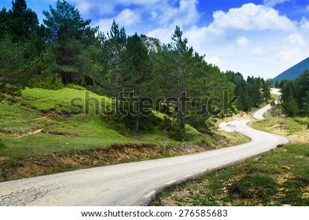 road through  mountain. Pyrenees, Catalonia - stock photo