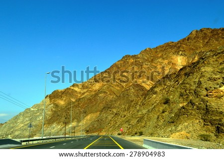 Road view in Sharjah-Kalba road  - stock photo