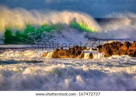 """Roaring Ducky"" - 20+ foot waves on Oahu's North Shore - stock photo"