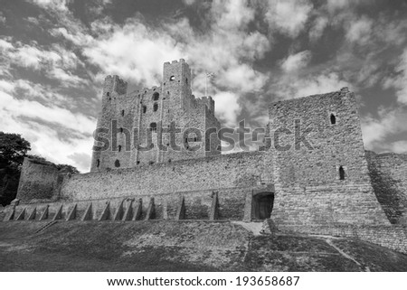 Rochester Castle in Kent, England (black and white) - stock photo