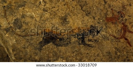 Rock paintings, Lion, Eastern Cape, South Africa - stock photo