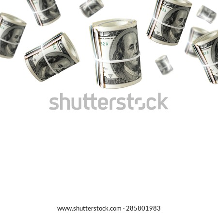 Rolls Of One Hundred Dollar Bills. Abstract money  background    - stock photo