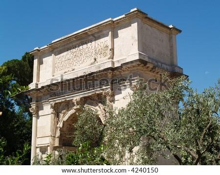 roman arc triomphe - stock photo