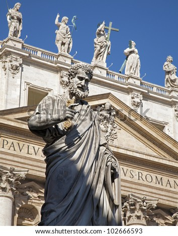 Rome - st. Peter s statue for st. Peter s basilica - stock photo