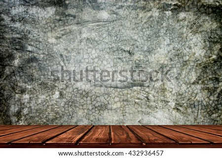 room interior vintage with dark wall and wood floor - stock photo