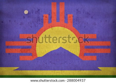 Roswell ,New Mexico flag on fabric texture,retro vintage style - stock photo