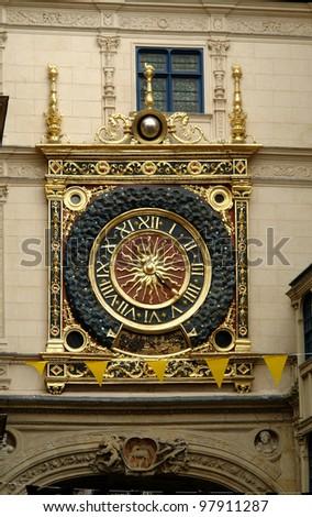 Rouen Le Gros-Horloge City clock tower - stock photo
