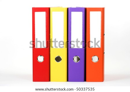 Row of color file folders - stock photo