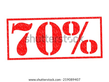 70% Rubber Stamp over a white background. - stock photo